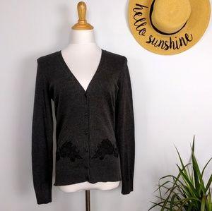 Ann Taylor LOFT Lace Applique Grey Cardigan S
